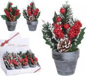 Коледна декорация в керамична саксия