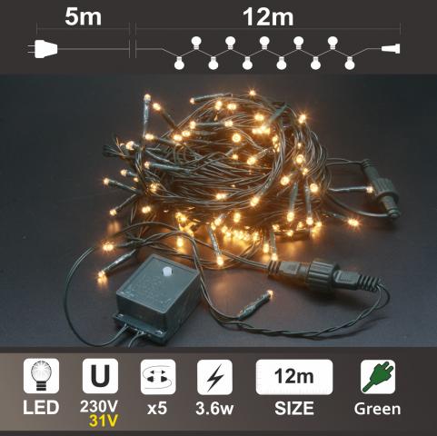 Светещ Гирлянд: 120 топло бели LED /диодни/ лампички,Зелен PVC кабел