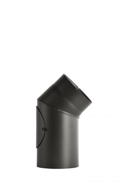 Димоотвод ф130 дъга 45° заварена с вратичка 2мм senotherm® UHT-HYDRO черна