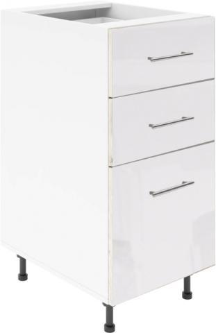 Крафт D3 долен шкаф с три чекмеджета 45см, бял гланц
