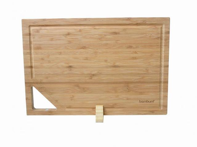 Бамбукова дъска за рязане със стойка