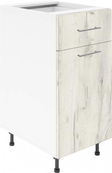 Крафт D2 долен шкаф с една врата и чекмедже 40см, дъб крафт бял