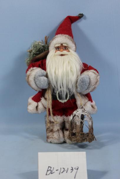 Фигура Дядо Коледа 46см, червен с фенер