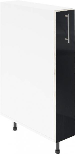 Крафт D14 шкаф с метална бутилиера 15см, черен гланц