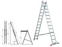 Алуминиева стълба двураменна комбинирана 2х8
