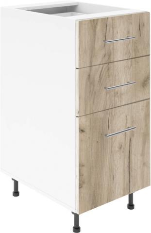 Крафт D3 долен шкаф с три чекмеджета 40см, дъб крафт сив