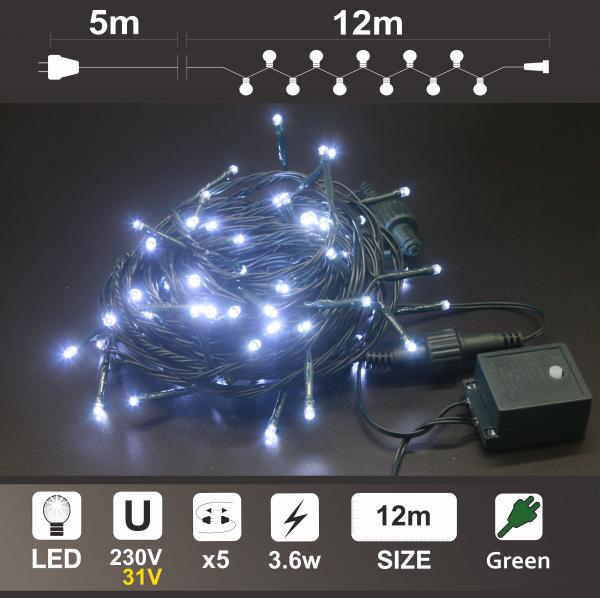 Светещ Гирлянд: 120 бели LED /диодни/ лампички