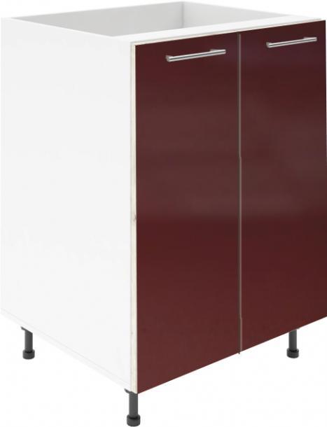 Крафт D6 долен шкаф с две врати (за мивка) 70см, бордо гланц