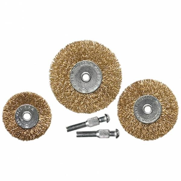 К-т четки за бормашина, 3 бр., плоски 50-63-75 mm, с опашки, вълнообразна стоманена тел// MTX