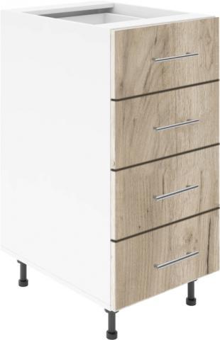 Крафт D4 долен шкаф с четири чекмеджета 40см, дъб крафт сив