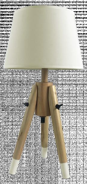 Настолна лампа Талпи с дървени крака, цвят екрю