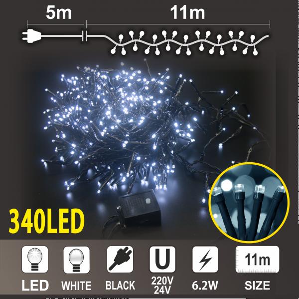 Коледен Клъстер: 340 бели LED /диодни/ лампички,Черен PVC кабел