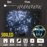 Коледен Клъстер: 500 бели LED /диодни/ лампички, Черен PVC кабел.