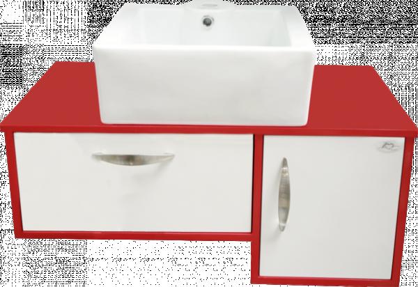 Червен PVC шкаф с умивалник