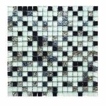 Стъклено-каменна мозайка бял/черен