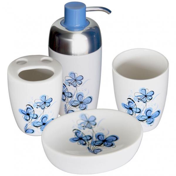 Комплект за баня 4 елемента, порцелан, син