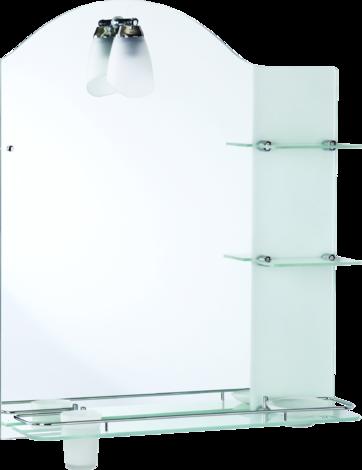 Огледало с рафтове и осветление 63х75 см