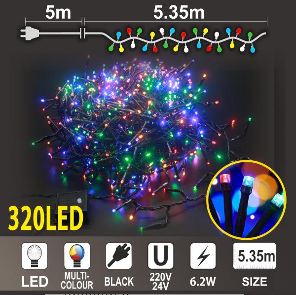 Коледен Клъстер: 320 разноцветни LED /диодни/ лампички,Черен PVC кабел.