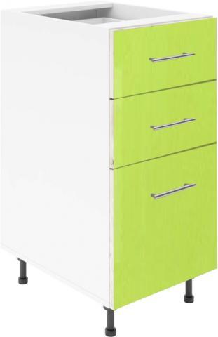 Крафт D3 долен шкаф с три чекмеджета 45см, зелен гланц