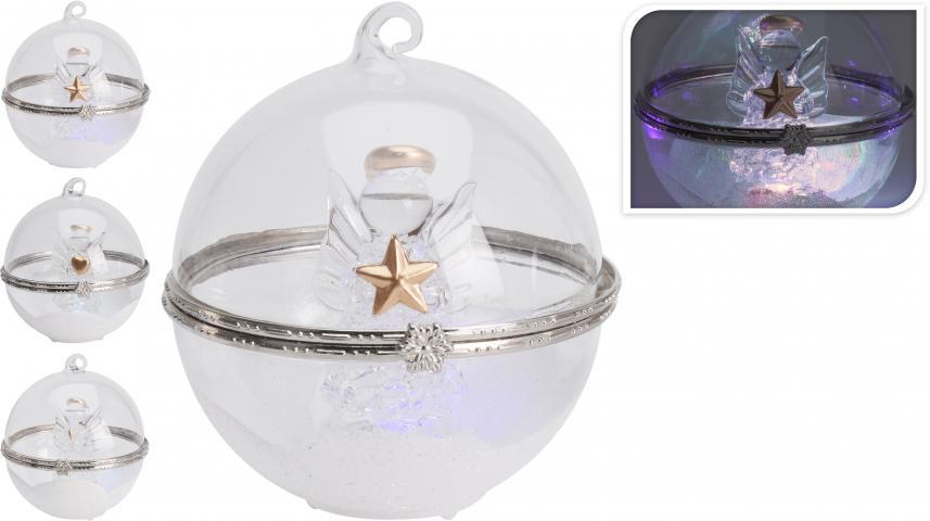 Стъклена топка LED ангелче 8 см
