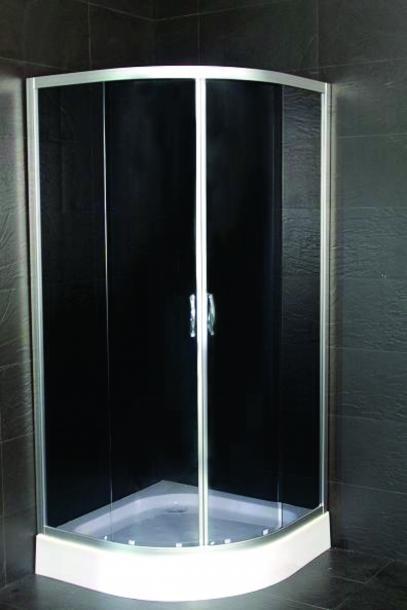 Овална душ кабина черно стъкло