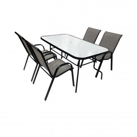 Метален стол, сив текстилен 2