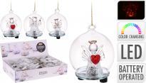 Стъклена топка LED ангелче 6 см