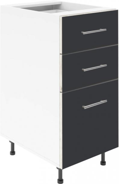 Крафт D3 долен шкаф с три чекмеджета 40см, антрацит