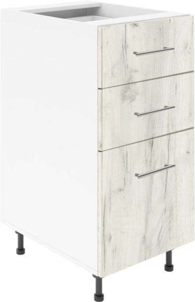 Крафт D3 долен шкаф с три чекмеджета 45см, дъб крафт бял