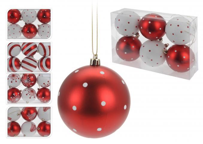 Коледни топки СЕТ 6 бр., 8 см, червено и бяло
