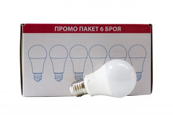 LED крушка 10W E27 4000K  - пакет 6 бр