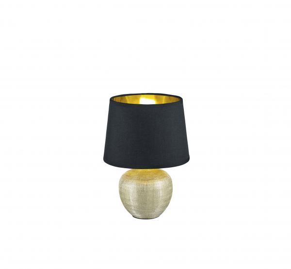 Настолна лампа Luxor h26 cm основа керамична - златен/абажура - черен текстил