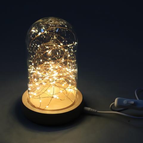 Стъклен буркан с LED СТРИНГ топло бяло
