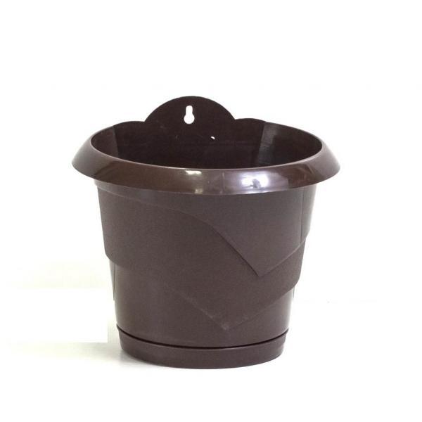Стенна саксия МН,Ф:20 с подложка, кафява