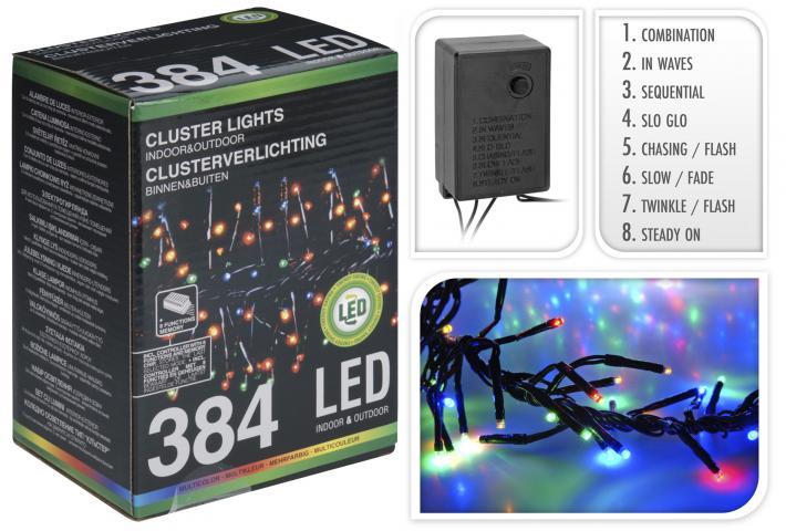 Коледен многоцветен клъстер 384 LED OUT