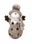 Фигура Снежен човек с елха 23х16х45 см магнезий