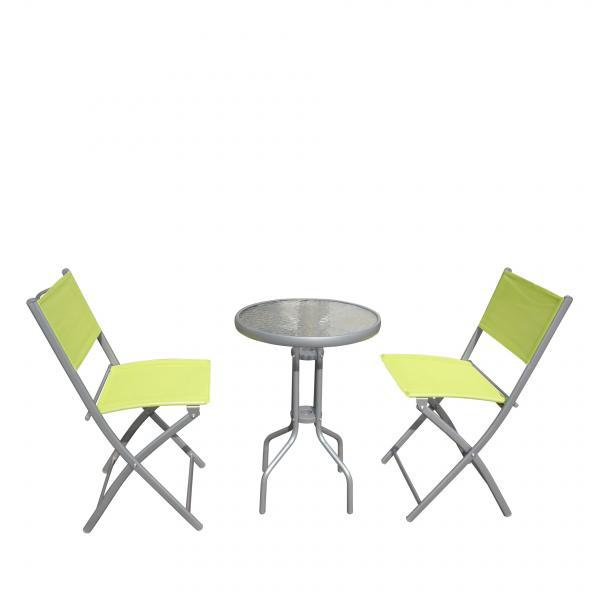 Балконски сет маса и 2 стола (зелен текстилен)