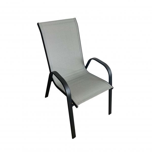 Метален стол, сив текстилен
