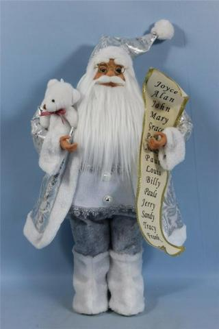 Фигура Дядо Коледа 30см, сив с табелка 2