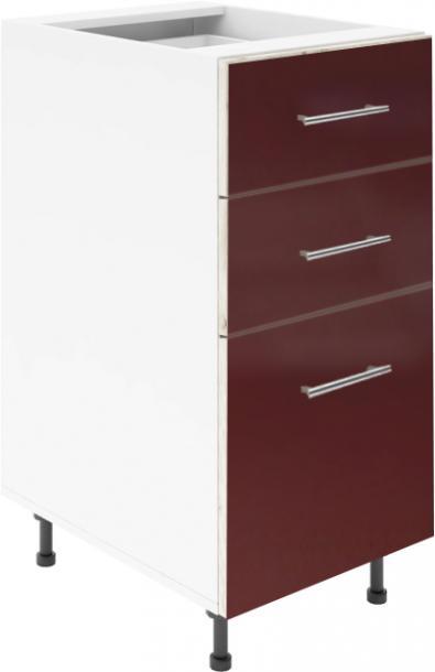 Крафт D3 долен шкаф с три чекмеджета 45см, бордо гланц