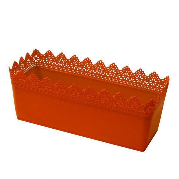 Кашпа Дантела  38.5 х15.2 х15.5 см, оранжева