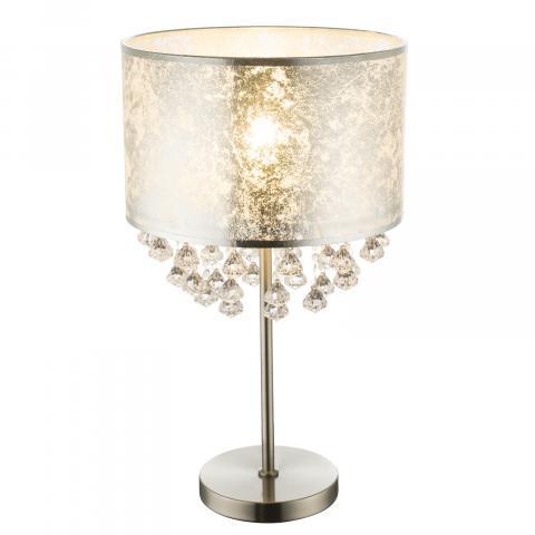 Настолна лампа AMY I Е27, текстил и кристали