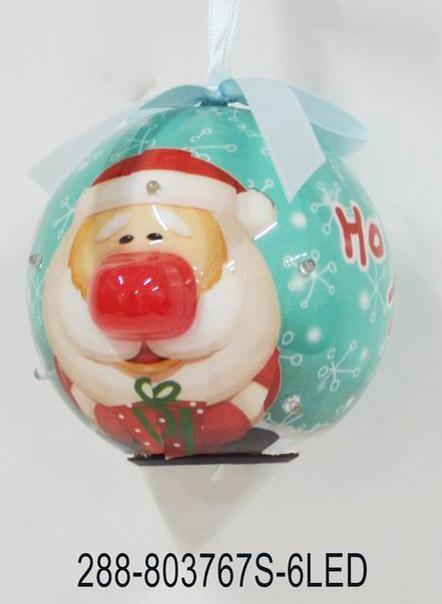 Светеща топка Дядо Коледа светло-синя с надпис 80мм