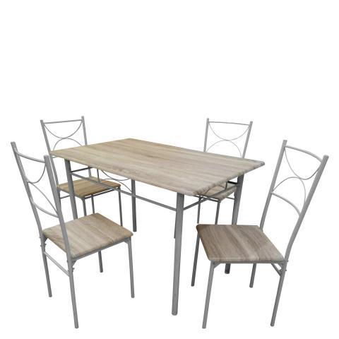 Комплект маса с 4 стола, цвят дъб