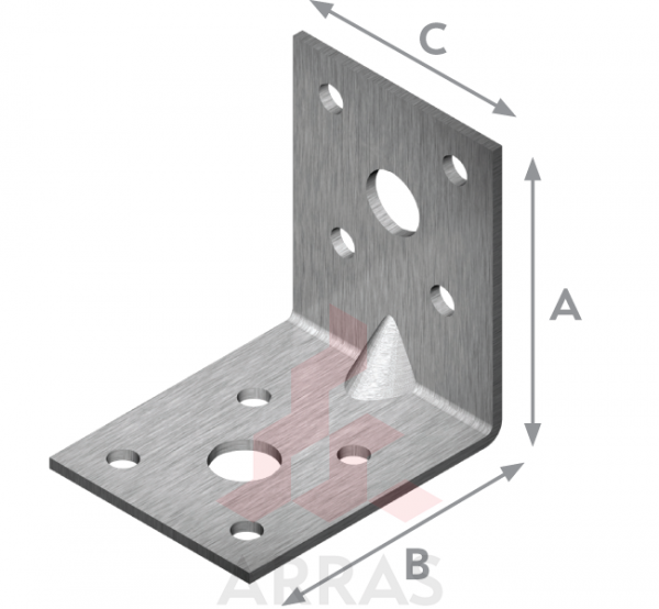 Планка ъглова подсилена равнораменна 70х70х55х2.5
