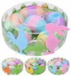 Великденски яйца 6см х 6бр./кутия с декорация, 3 модела