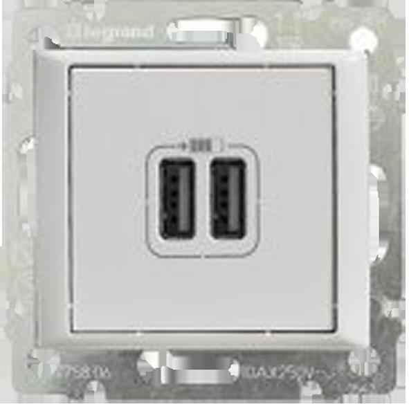 Двойна USB розетка механизъм 1500 mA, 5 V-  бяла Valena Life
