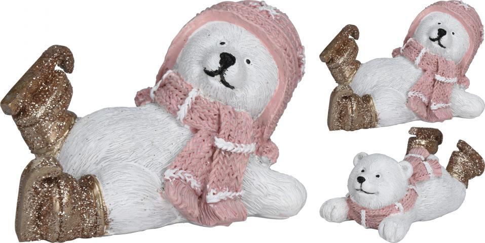 Фигура бяла мечка с кънки 9 см