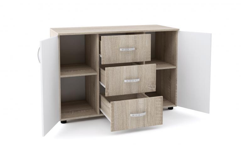 Скрин Дамяна В с три чекмеджета и две врати, дъб сонома/бяло 2