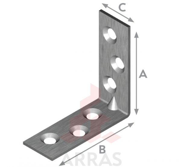Планка ъглова с конусни отвори 30х30х15х2
